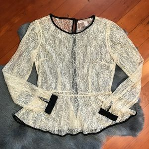 Forever 21 Creme Lace Peplum Top Button Back